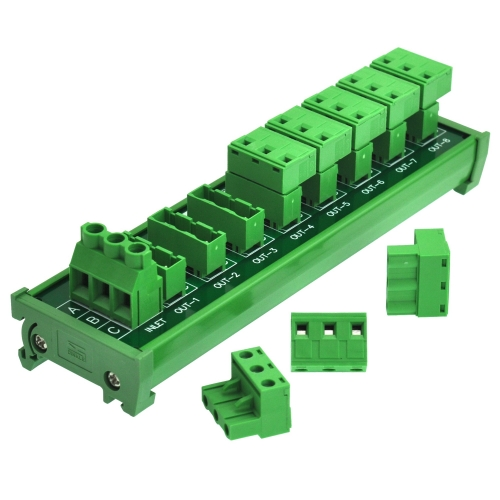 OONO DIN Rail Mount 30A/300V 8x3 Position Pluggable Terminal Block Distribution Module