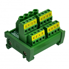 DIN Rail Mount 2x8 Position Screw Terminal Block Power Distribution Module