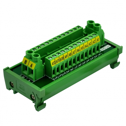 HCDC DIN Rail Mount 30Amp/300V 2x12 Position Screw Terminal Block Distribution Module.