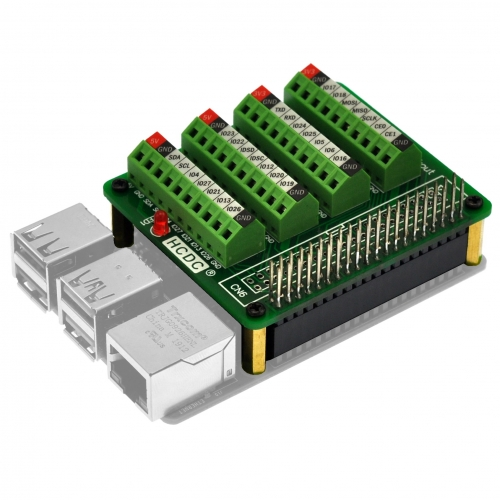 HCDC RPi GPIO Terminal Block Breakout Board HAT, for Raspberry Pi