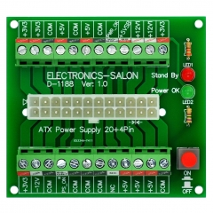 Electronics-Salon 24/20-pin ATX DC Power Supply Breakout Board Module.