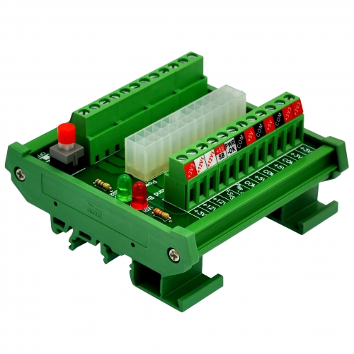 Electronics-Salon DIN Rail Mount 24/20-pins ATX DC Power Supply Breakout Board Module.