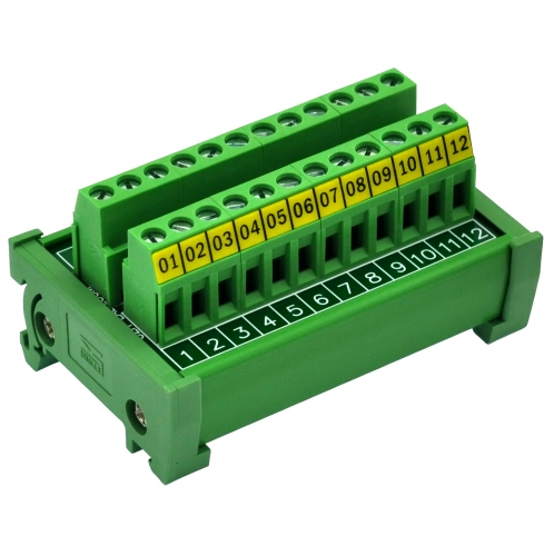 DIN Rail Mount 24A/400V 12 Position Screw Terminal Block Distribution Module