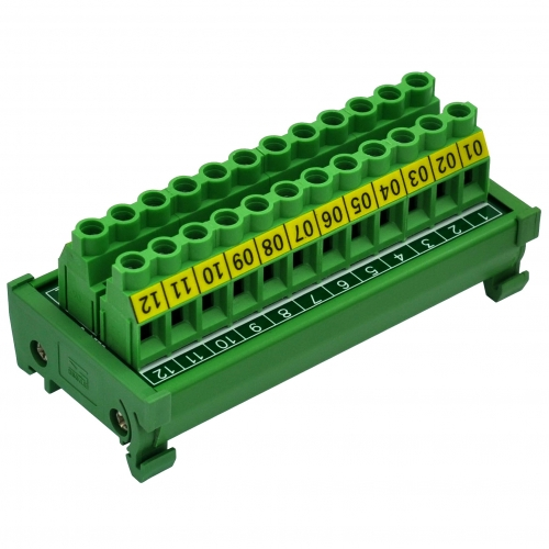 DIN Rail Mount 30A/300V 12 Position Screw Terminal Block Distribution Module