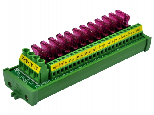Screw Mount 12 Position DC Power Fuse Distribution Strip Module