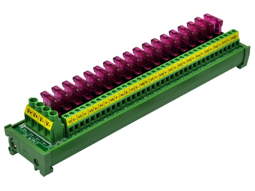 DIN Rail Mount 18 Position DC Power Fuse Distribution Strip Module