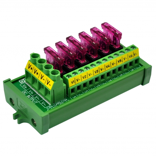 Screw Mount 6 Position DC Power Fuse Distribution Strip Module