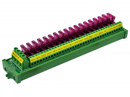 Screw Mount 18 Position DC Power Fuse Distribution Strip Module