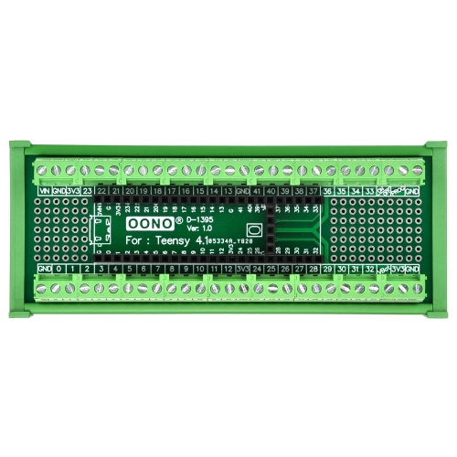 Terminal Block Breakout Board Module for Teensy 4.1, DIN Rail Mount Version