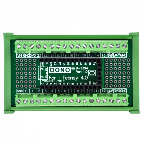 Terminal Block Breakout Board Module for Teensy 4.0, DIN Rail Mount Version