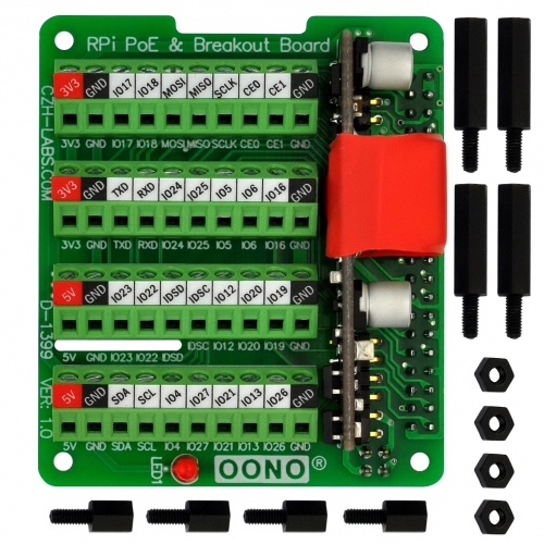 RPi PoE & Terminal Block GPIO Breakout Board Module for Raspberry Pi