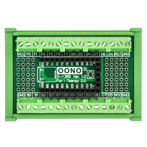Terminal Block Breakout Board Module for Teensy 2.0, DIN Rail Mount Version