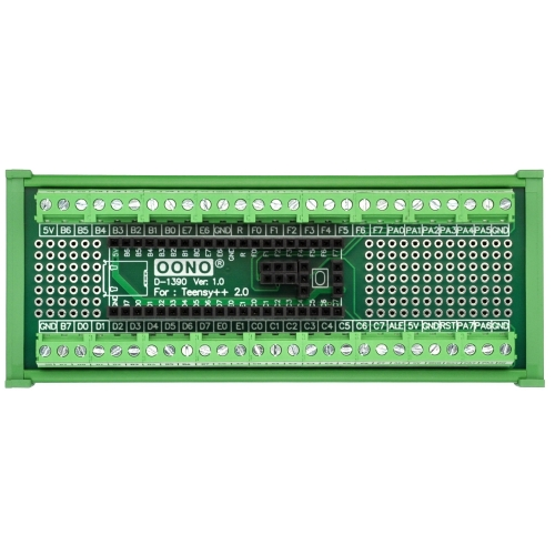Terminal Block Breakout Board Module for Teensy++ 2.0, DIN Rail Mount Version