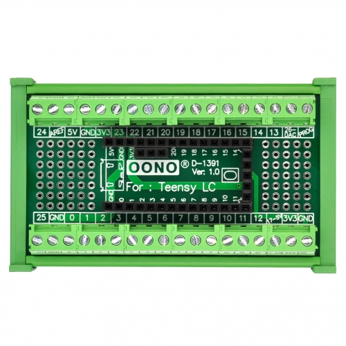 Terminal Block Breakout Board Module for Teensy LC, DIN Rail Mount Version