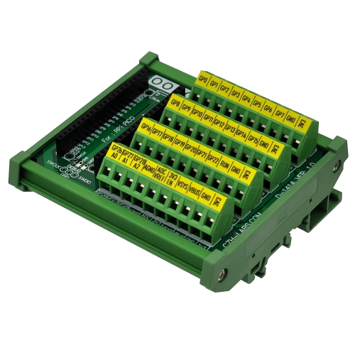 DIN Rail Mount Screw Terminal Block Breakout Module for Raspberry Pi Pico