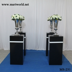 2020 black fiber glass vase square cubiod flower stand for wedding party events hotel decoration home decoration