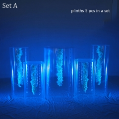 Acrylic clear pillars round plinth column display pedestal table stand for wedding aisle decorations party event bridal shower flower stands candy sweet cake table