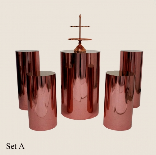 Rose gold pedestal mirror stand round plinths display pedestal column cup cake table flower stand for wedding ais le decoration bridal baby shower candy bar sweet table bar table cake table decoration ideas wedding party decoration supplier