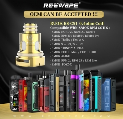 RUOK K8-CS1 MESH 0.4ohm REPLACEMENT COILS Compatible With SMOK RPM COILS