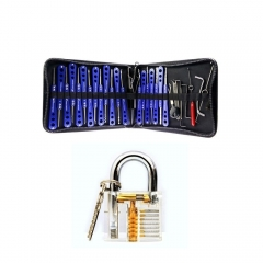 KLOM 30-in-1 Lock Picks Tools Set with Transparent Padlock Practice Lock for Locksmith Training