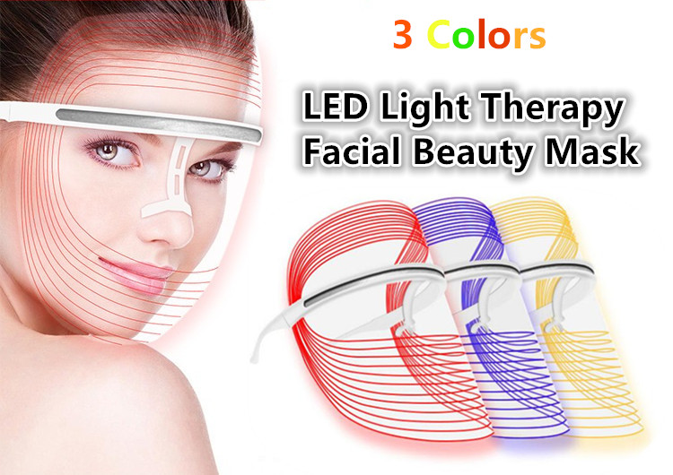 Yellow Blue Red Light Facial Skincare LED Mask Powered by Phone