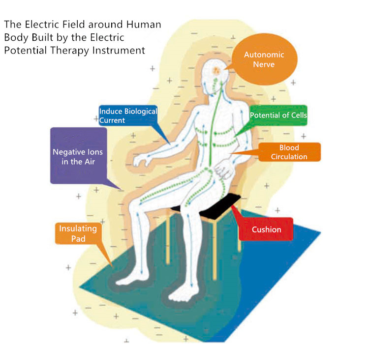 The electric field around human body built by the high electric potential therapy machine.