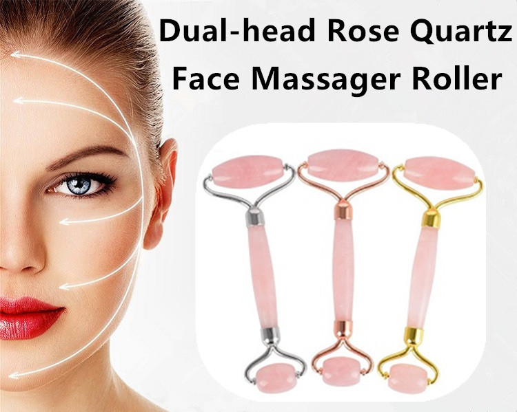 Rose Quartz Face Massager Roller for Slimming Wrinkle Removal