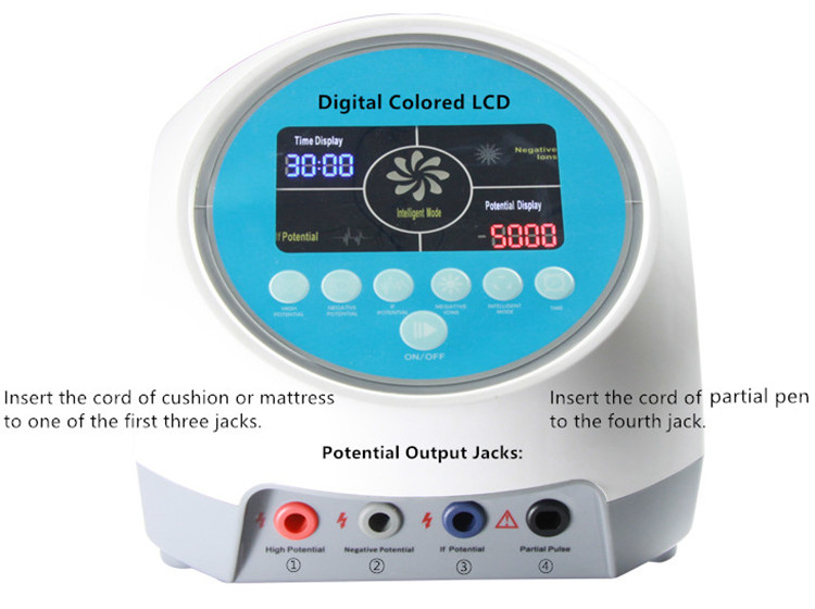 The High Electric Potential Therapy Machine has a digital colored LCD for friendly operation.
