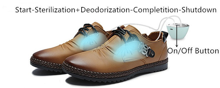 Put the two halves of UV Sterilizer and Ozone Deodorizer in One into shoes.