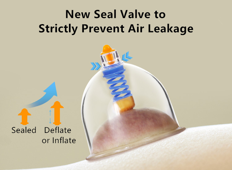 The new seal valves of Vacuum Cupping Massage Therapy Set can strictly prevent air leakage.