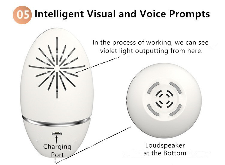 The UV Sterilizer and Ozone Deodorizer in One has intelligent visual and voice prompts.