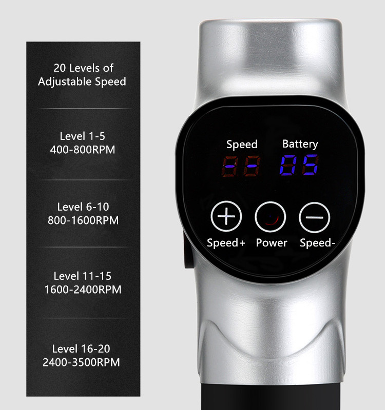 The Percussion Massage Gun has 20 levels of percussion speed and an intelligent LCD touch screen.