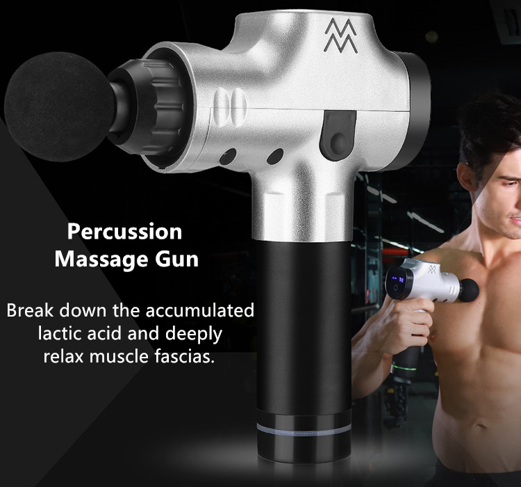 The Percussion Massage Gun breaks down the accumulated lactic acid and deeply relax muscle fascias.