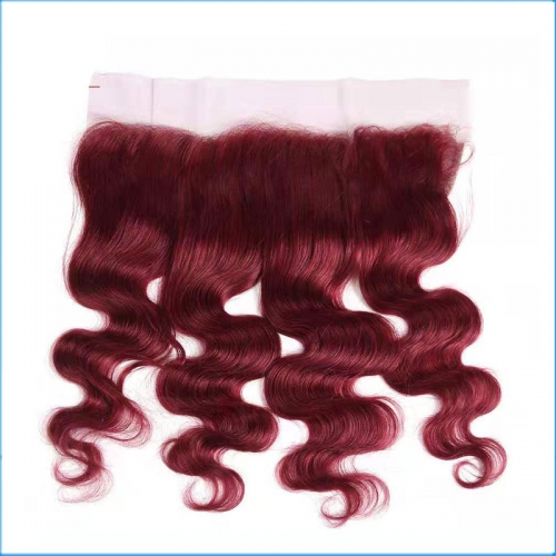 Wholesale BURG# Color  Lace Frontal Closure,13*4  Lace Frontal Body Wave Hair Pieces