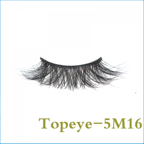 Professional supplier hand Made 5D real mink  fur strip eyelashes with custom  box