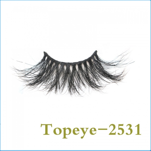 In Stock Hand Made  25mm   100% mink  fur strip eyelashes