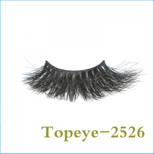 Best Selling Korean style  25mm   100% mink fur  strip eyelash