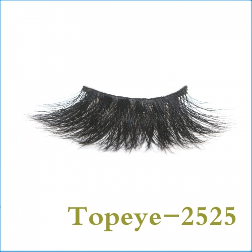 Luxury  high quality  25MM real mink fur strip  eyelashes custom logo  wholesale