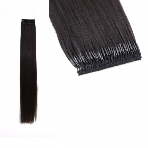 18inch Natural Black Color Cotton Thread Kotted Human Hair Extensions 8''-30''