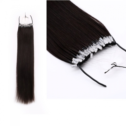 Hot Selling Black Color 16inch Virgin Hair Easy Pull Knot Thread Hair Extensions