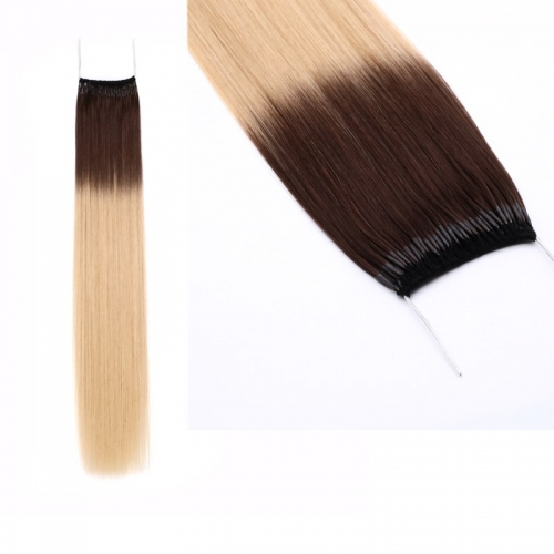 Omber Color Black-Blond Gradient Color Hair 18 Inch Thread Knot Hair Extension