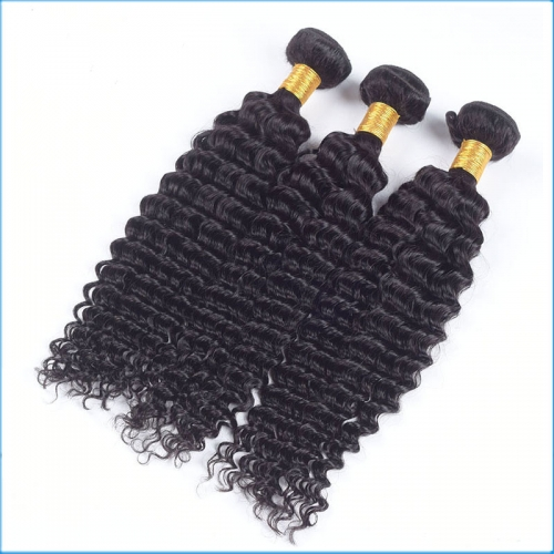 10A Grade 16inch Black Color Curly Hair Weft Hair Weaving