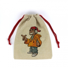 Sublimation Blank Drawstring Santa Sack Cotton Linen Christmas Gift Bag