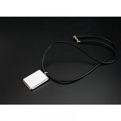 Popular Sublimation Blank Necklace With Leather Cord Rectangular Shaped