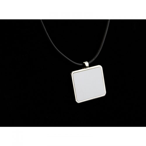 Popular Sublimation Blank Necklace With Leather Cord Square Shaped