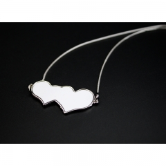 Popular Sublimation Blank Necklace Double Heart To Heart Shaped