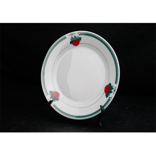 White Sublimation Blank 8'' Strawberry Green Fringe Plate