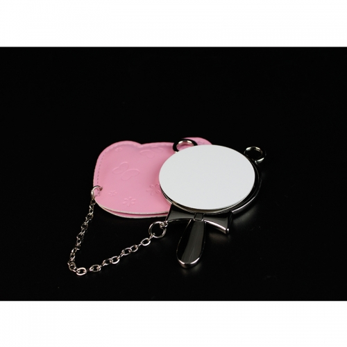 Fashionable Sublimation Round Hand Mirror With Leather Case
