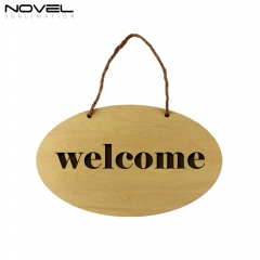 New Fashion Sublimation Blank Custom Wooden Oval Door Hanging