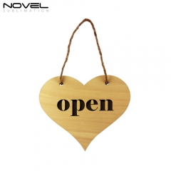 New Fashion Sublimation Blank Custom Wooden Heart Door Hanging